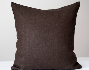 Linen sham - chocolate brown - throw pillows - pillow cover - cushion case 0005
