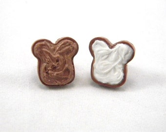 Peanut Butter and Fluff Stud Earrings, PB&J Marshmallow Studs