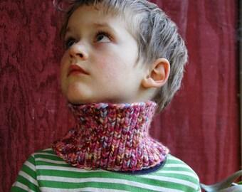 Hand Knit Cowl/Earwarmer - Pink Bubblegum Confetti - Ready To Ship