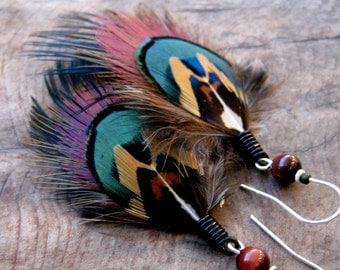 Beautiful Feather Earrings, Feather Earrings, Short Feather Earrings