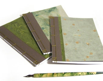 Japanese Style Notebooks. Japanese Stab Bound Notebooks. Journals Gift Set. Brown and Green Journals. Gift for Him. Men's Journals. Set of 3