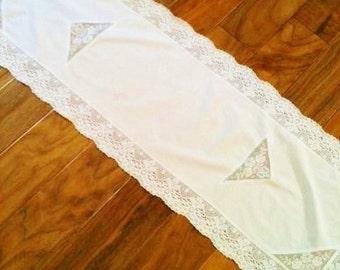 Vintage Shabby Chic Snow White Handmade Rose Table Runner, Romantic Home, Olives and Doves