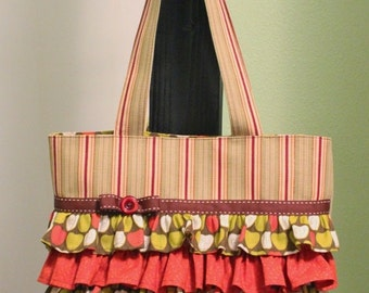 Tote Bag Purse with Ruffles - orange/green