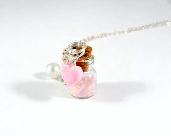 Fairy Kei Stardust Glitter Bottle Charm Necklace, Choice of Sterling Silver Chain, Cute, Kawaii :D