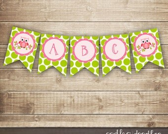 Pink & Lime Green Owl Banner / Girl's Birthday or Baby Shower / Create Your Own Banner / A through Z  Banner / INSTANT DOWNLOAD - Printable
