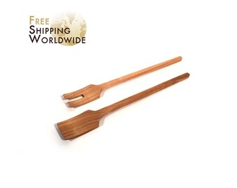 Wooden Salad serving mixing Set Modern from Cherry wood