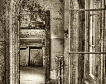 Eastern State Penitentiary, Philadelphia Abandoned Building, Urban Decay, Haunted, Eerie, Black and White HDR Fine Art Photograph 8x12 Print