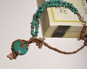 turquoise necklace, copper necklace, wire wrapped jewelry handmade, unique womens gifts,  gift for her