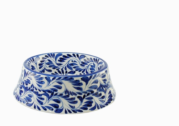 Cobalt Blue Pet Bowl Talavera Pattern Bowl Cobalt Blue Dog