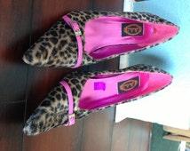 Animal Print Shoes, Size 8.5, Rockabilly Pumps, Pink Pumps, Leopard Pumps