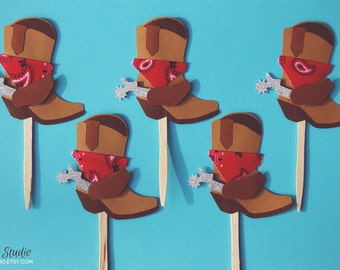 Cowboy Boots with Red Bandanas Cupcake Toppers  (Set of 12)