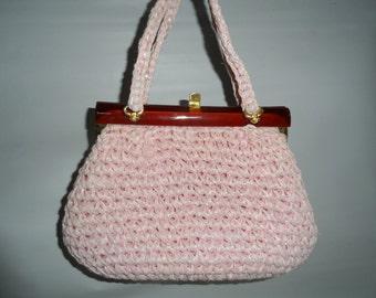 1960s Vintage Pink Raffia Crochet Handbag Tortoise Frame  Made In Italy