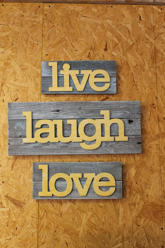 live laugh love recycled upcycled wall decor wall sign 3. Black Bedroom Furniture Sets. Home Design Ideas
