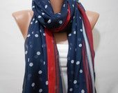 July 4th Polka Dots Scarf Cotton Scarf Summer Scarf Red White Blue Scarf Shawl Infinity Scarf Sarong Patriotic Scarf Accessory Gift For Her