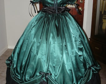 Civil War Reenactment Ladies or Juniors Ball Gown Sizes, Styles and Colors available 5 Yard Skirt