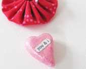 Clay Heart Sentiment with Fabric Gift Pouch- You & I