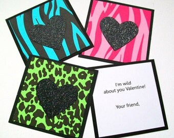 Classroom Valentines Cards, Kids Valentines for School, Personalized Animal Print Valentines, Class Valentine Pack, Valentine's Day Cards