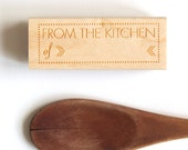 From the Kitchen of Rubber Stamp, (Wood Mounted) Retro Modern Design with optional wooden handle (S301) for Labeling Tasty Homemade Goods