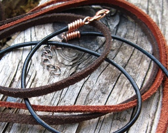 Leather necklace cord, black leather, brown suede
