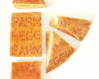 Parmesiano Reggiano Cheese / Cheese PRINT / Cheese Drawing / Cheese Art / Kitchen Art / Food Art Print