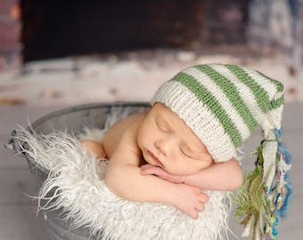 Newborn photo prop, newborn hat, newborn boy, newborn girl, knit newborn hat, newborn props, newborn elf hat with tassels