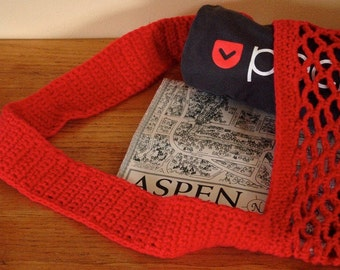 Shopping Bag Red Cotton Tote Carrier Crochet Mesh