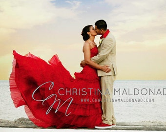 Red Wedding Dress Bridal Gown Colored Wedding Dress Colorful Strapless