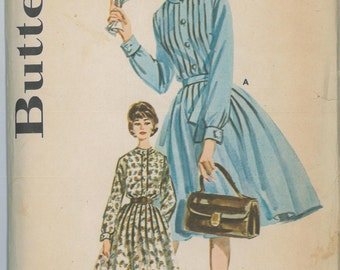 2342 UNCUT 1960's Mad Men Women's Shirt Dress Sewing Pattern Butterick 2342 Bust 32