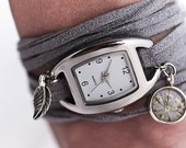 Wrap Watch with real flower charm - grey suede and silver wrist watch, dried flower charm and little leaf