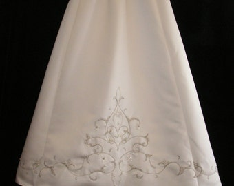 White beaded silver embroidery Christening gown with raised bodice made from a wedding gown