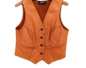 Vintage Brown Leather Vest - Half Moon Bay Leather - Top - Steampunk Corset - Western Rodeo Wear