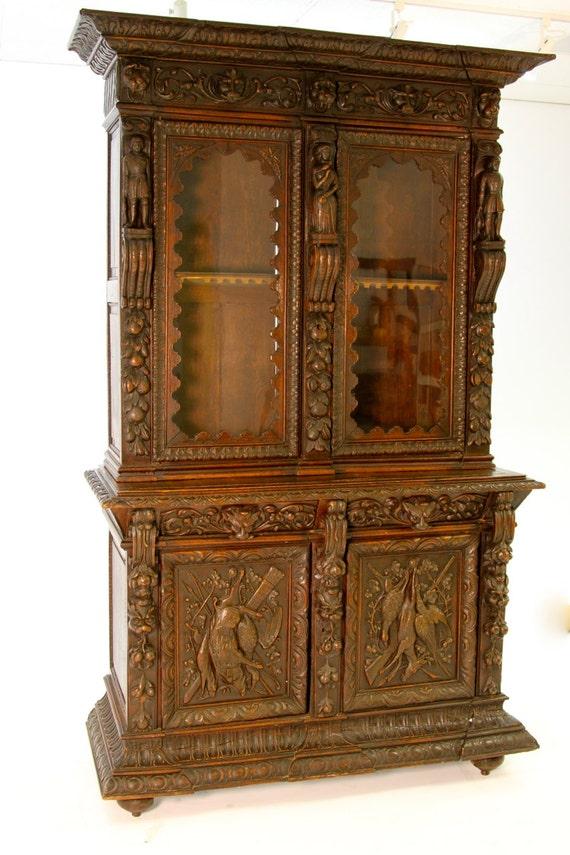 Antique Heavily Carved Walnut Hunt Cabinet German Server
