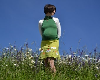 Spring maternity clothing,pregnancy skirt, maternity skirt,women daisy, bee and ladybird,spring green jersey