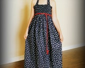 SALE! Navy Blue and White Polka Dot Smocked Maxi Dress by Steady As She Goes girls 4 5 6 7 8 10 12 red patriotic wedding halter sundress