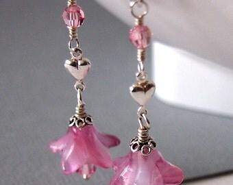 Pink Flower Earrings, Glass Bead Earrings, Sterling Silver - WISTFUL