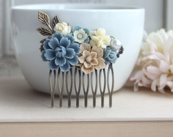 Dusty Blue Flower, Brown Sakura, Cream Bouquet, Pearl, Shabby Flower Collage Hair Comb. Bridesmaids Hair comb, Bride Wedding Comb. Country