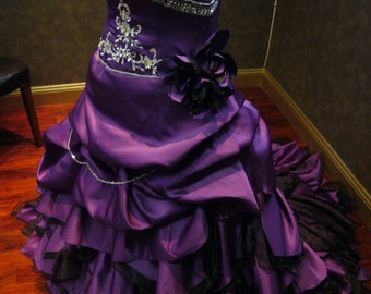 Breathtaking Unique Royal Purple Wedding Dress Alternative Offbeat Custom Made to your Measurements
