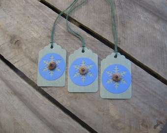 Rustic Gift Tags, Set of THREE, Gift Tags, Green Blue. Snowflake Gift Tags, Acorn Cap Gift Tags, Gift Wrap, Holiday Gift Tag SnowNoseCrafts