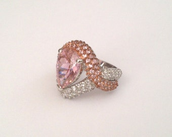 Vintage Sterling Silver Floating Stone Morganite Pink Sapphire & Pave Estate Ring Rose Gold Pink Stone Pear Halo Ring Multi Stone Ring