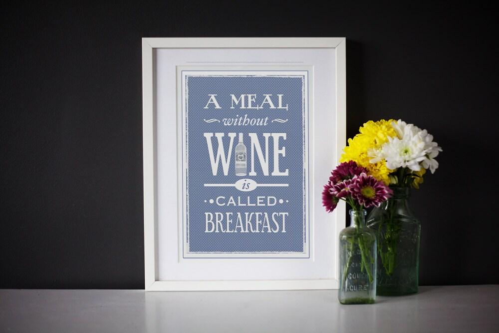 Wine Wall Decor For Kitchen : Wine art wall decor blue kitchen print