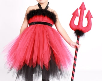 READY TO SHIP: Devil Darling - Red & Black - Pitch Fork Devil Costume Accessory - Child Size - Cutie Patootie Designz