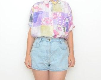 Vintage pink roses short sleeve 90s women shirt