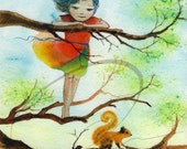 Longtail - Watercolor Art Print Little Girl Climbing Tree Squirrel Child Red Dress Black Wind Available in Paper and Canvas by Olga Cuttell