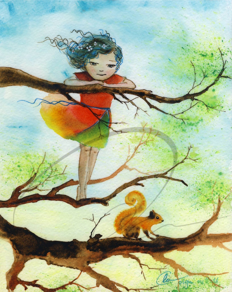 Girl Climbing Tree in Dress Little Girl Climbing Tree