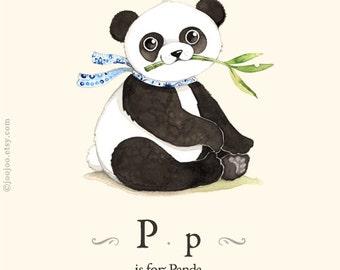 P is for panda, alphabet wall art, wall art for kids, Panda painting , watercolor painting,  animal alphabet prints
