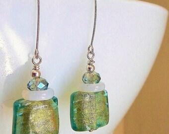 Peridot Glam Earrings - Genuine Murano Glass, Opalite Rings, Opal Crystals & Handmade Sterling Silver Ear Wires / Aid Kids w Diabetes