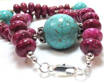 Turquoise & Jasper Necklace, 925 Sterling Silver, Bali Style Beads, Turquoise Howlite, Bright Fuchsia, Chunky Gemstone Necklace