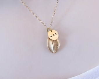 3 Initial Necklace, Leaf Necklace, Dainty Necklace, Gold Initial Necklace, Initial Jewelry,Disc Necklace,Personalized Necklace,Three initial