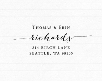 Custom Script Return Address Stamp - Self Inking Address Stamp - Housewarming Wedding Gift