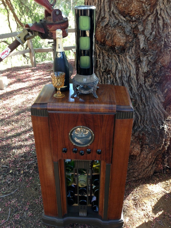 Antique Radio Wine Liquor Bar LED Showcase 1940's OOAK